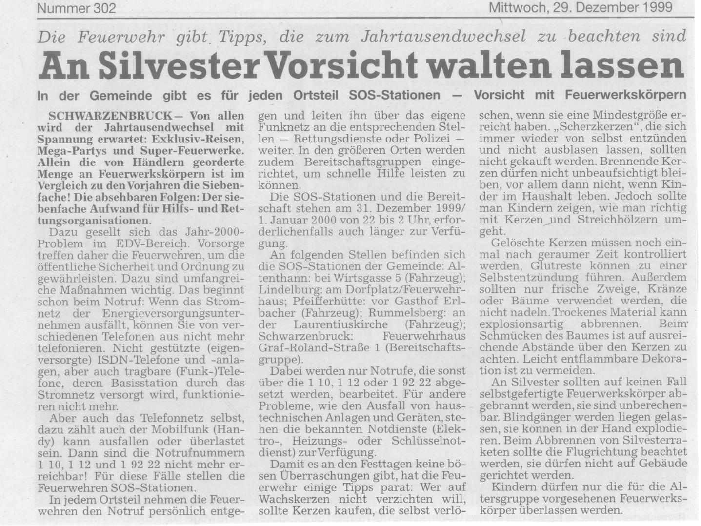 31_12_1999-Zeitungsbericht -2-Bereitschaft-zum-Jahrtausendwechsel