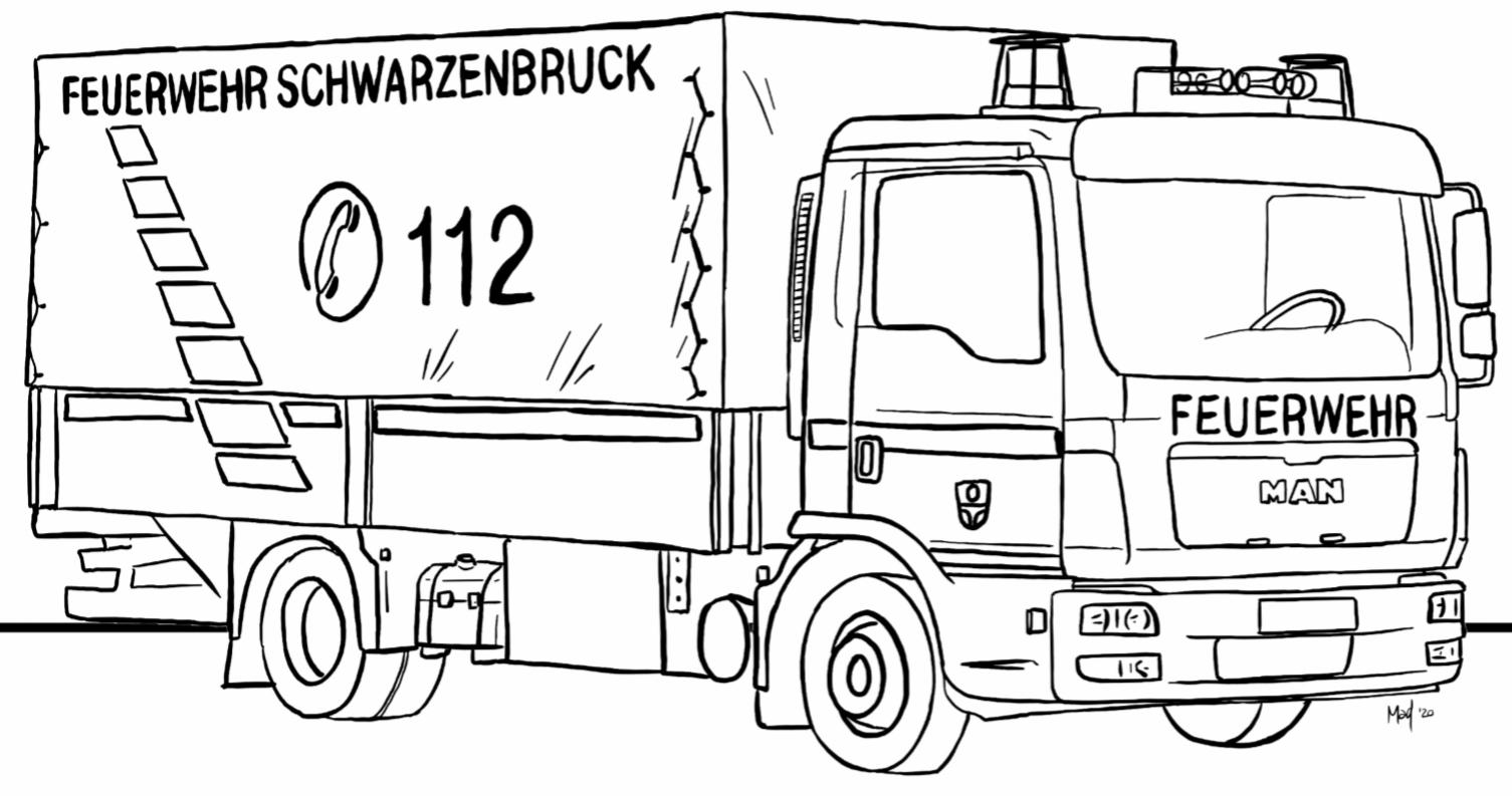 Feuerwehr Schwarzenbruck für Daheim – Ausmalbilder für Kinder – FF